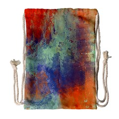 Abstract in Green, Orange, and Blue Drawstring Bag (Large)