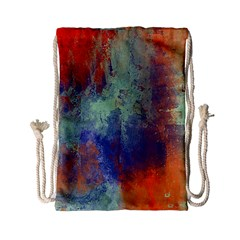 Abstract in Green, Orange, and Blue Drawstring Bag (Small)