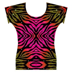 Florescent Pink Green Zebra Abstract  Women s Cap Sleeve Top