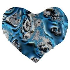 Metal Art 11, Blue Large 19  Premium Flano Heart Shape Cushions