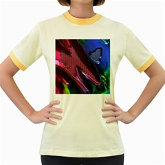 Colorful Broken Metal Women s Fitted Ringer T-Shirts