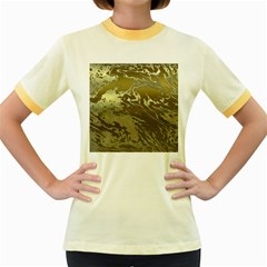 Metal Art Swirl Golden Women s Fitted Ringer T Shirts