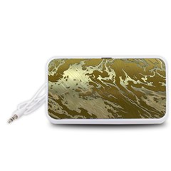 Metal Art Swirl Golden Portable Speaker (White)