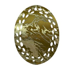 Metal Art Swirl Golden Oval Filigree Ornament (2-Side)