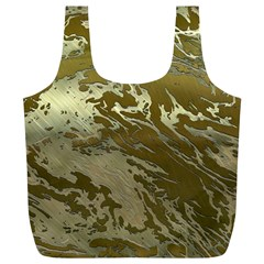 Metal Art Swirl Golden Full Print Recycle Bags (l)