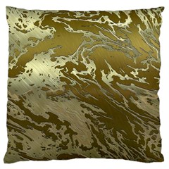 Metal Art Swirl Golden Large Flano Cushion Cases (one Side)