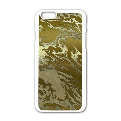 Metal Art Swirl Golden Apple iPhone 6 White Enamel Case