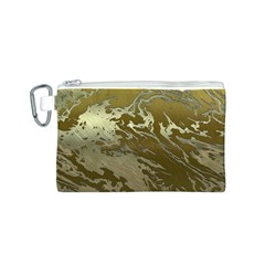 Metal Art Swirl Golden Canvas Cosmetic Bag (S)