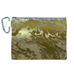 Metal Art Swirl Golden Canvas Cosmetic Bag (xl)