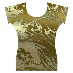 Metal Art Swirl Golden Women s Cap Sleeve Top