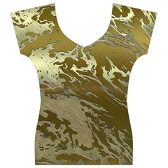 Metal Art Swirl Golden Women s V-Neck Cap Sleeve Top