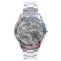 Metal Art Swirl Silver Stainless Steel Men s Watch