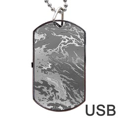 Metal Art Swirl Silver Dog Tag USB Flash (One Side)