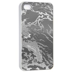 Metal Art Swirl Silver Apple Iphone 4/4s Seamless Case (white)