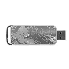 Metal Art Swirl Silver Portable Usb Flash (two Sides)