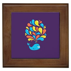 Colorful Happy Whale Framed Tiles