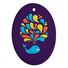 Colorful Happy Whale Ornament (oval)