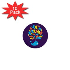 Colorful Happy Whale 1  Mini Buttons (10 Pack)