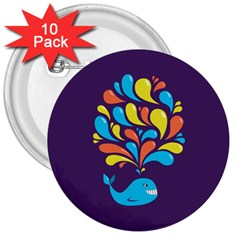 Colorful Happy Whale 3  Buttons (10 Pack)