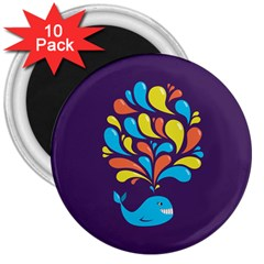 Colorful Happy Whale 3  Magnets (10 pack)