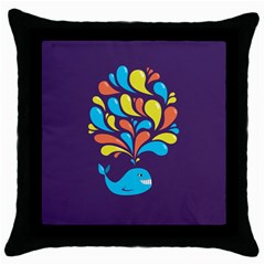 Colorful Happy Whale Throw Pillow Cases (Black)