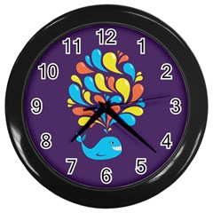 Colorful Happy Whale Wall Clocks (Black)
