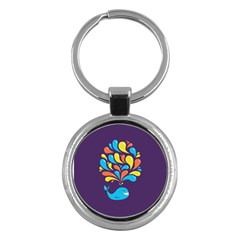 Colorful Happy Whale Key Chains (round)