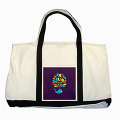 Colorful Happy Whale Two Tone Tote Bag