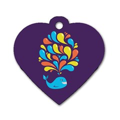 Colorful Happy Whale Dog Tag Heart (one Side)