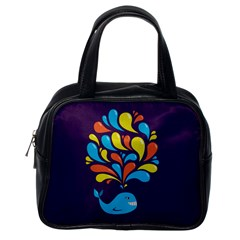 Colorful Happy Whale Classic Handbags (one Side)