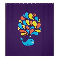 Colorful Happy Whale Shower Curtain 66  x 72  (Large)