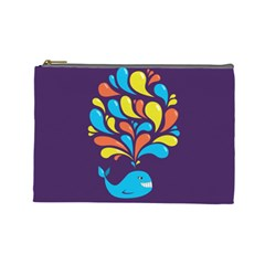 Colorful Happy Whale Cosmetic Bag (large)