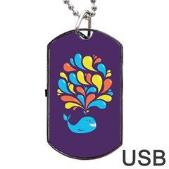 Colorful Happy Whale Dog Tag USB Flash (One Side)