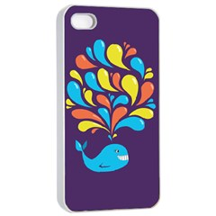 Colorful Happy Whale Apple iPhone 4/4s Seamless Case (White)