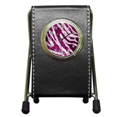 Purple Zebra Print Bling Pattern  Pen Holder Desk Clocks