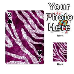 Purple Zebra Print Bling Pattern  Playing Cards 54 Designs
