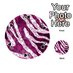 Purple Zebra Print Bling Pattern  Playing Cards 54 (Round)