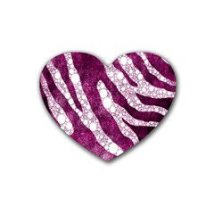 Purple Zebra Print Bling Pattern  Rubber Coaster (heart)