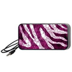 Purple Zebra Print Bling Pattern  Portable Speaker (Black)