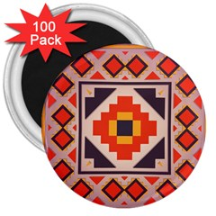 Rustic Abstract Design 3  Magnet (100 Pack)