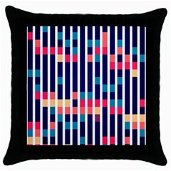Stripes And Rectangles Pattern Throw Pillow Case (black)
