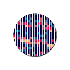 Stripes And Rectangles Pattern Rubber Round Coaster (4 Pack)