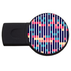 Stripes And Rectangles Pattern Usb Flash Drive Round (4 Gb)