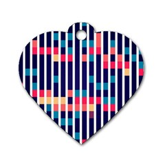 Stripes And Rectangles Pattern Dog Tag Heart (two Sides)