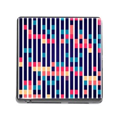 Stripes And Rectangles Pattern Memory Card Reader (square)