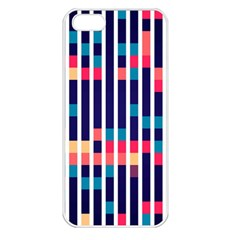 Stripes And Rectangles Pattern Apple Iphone 5 Seamless Case (white)