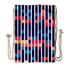 Stripes And Rectangles Pattern Large Drawstring Bag