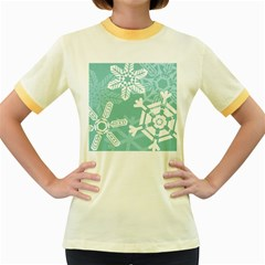Snowflakes 3  Women s Fitted Ringer T-Shirts