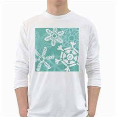 Snowflakes 3  White Long Sleeve T-Shirts