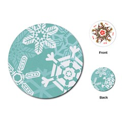 Snowflakes 3  Playing Cards (Round)